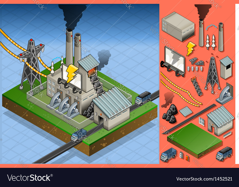 Isometric coal plant in electricity production vector | Price: 1 Credit (USD $1)