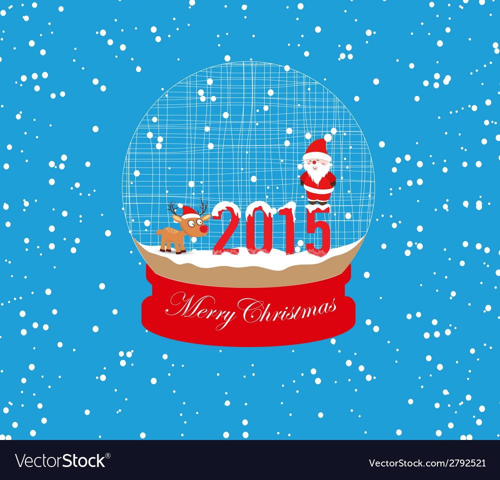New year and christmas santa claus and deer globe vector   Price: 1 Credit (USD $1)