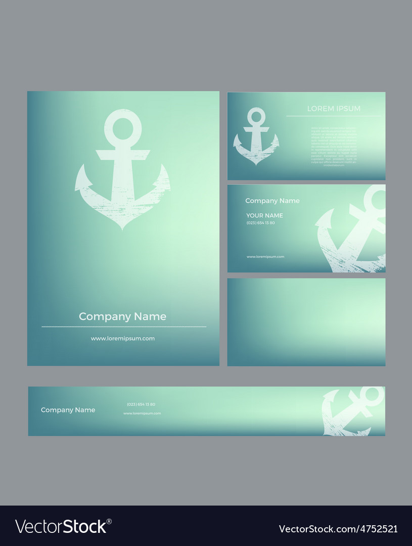 Set of business cards in marine style vector | Price: 1 Credit (USD $1)