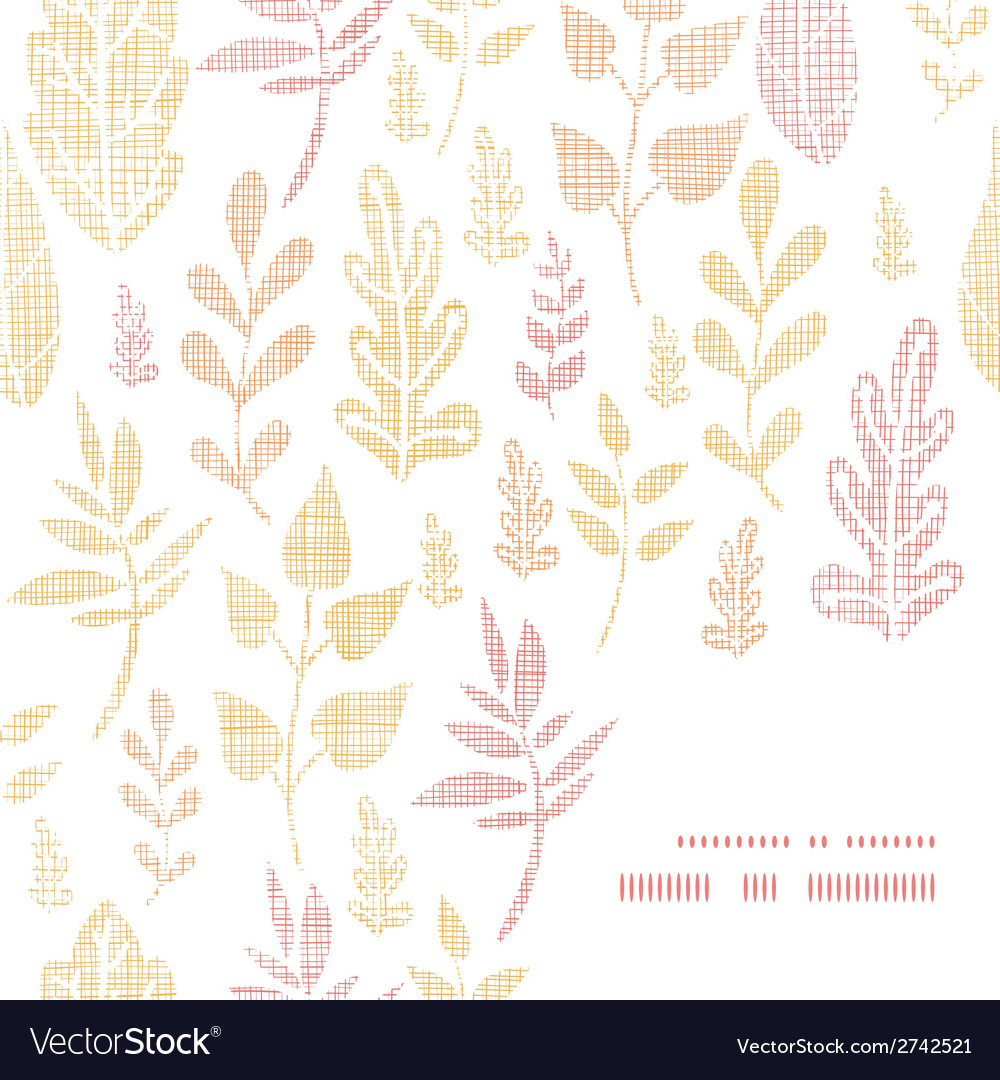 Textile textured fall leaves frame corner pattern vector | Price: 1 Credit (USD $1)