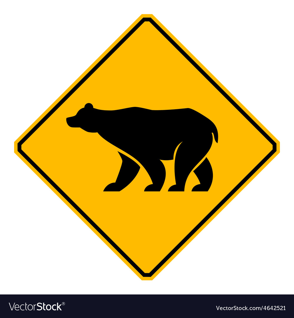 Traffic sign wildlife bear vector | Price: 1 Credit (USD $1)