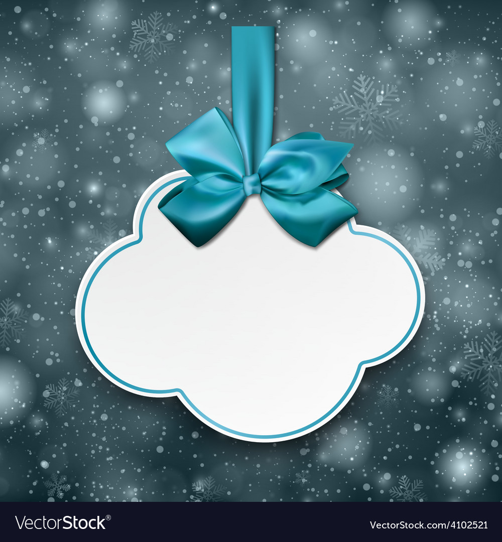 White cloud gift card with blue satin bow vector | Price: 1 Credit (USD $1)