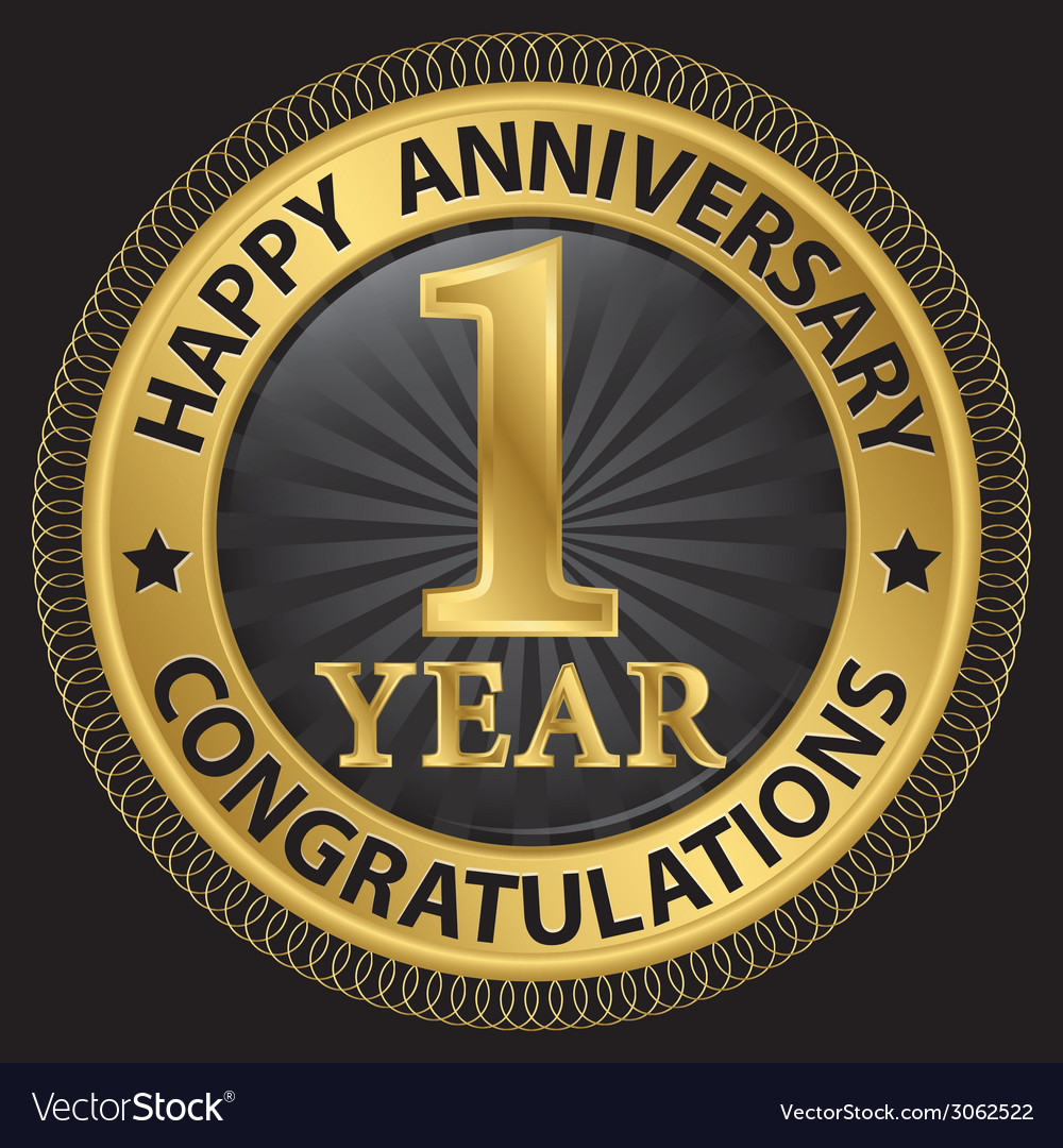 1 year happy anniversary congratulations gold vector | Price: 1 Credit (USD $1)