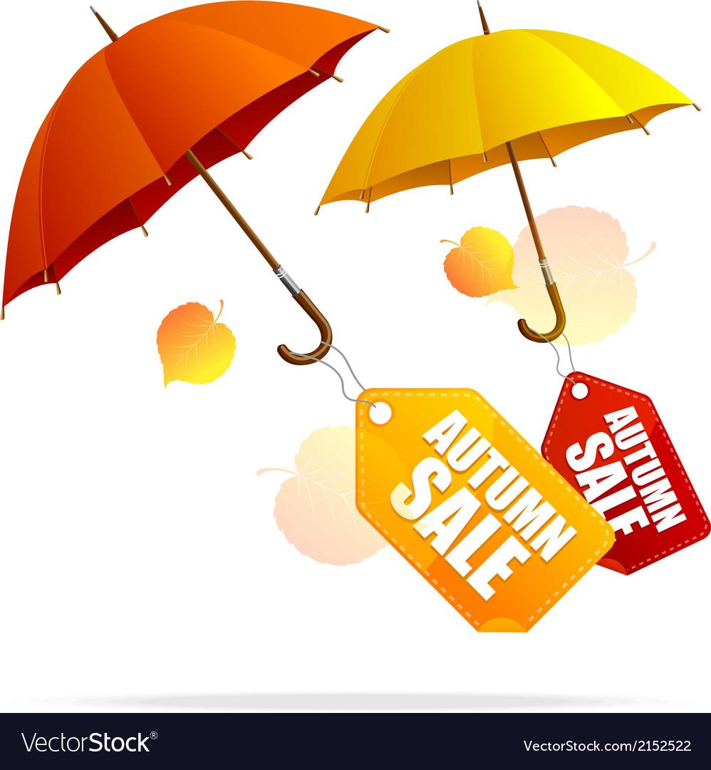 Autumn sale labels with umbrellas vector   Price: 1 Credit (USD $1)