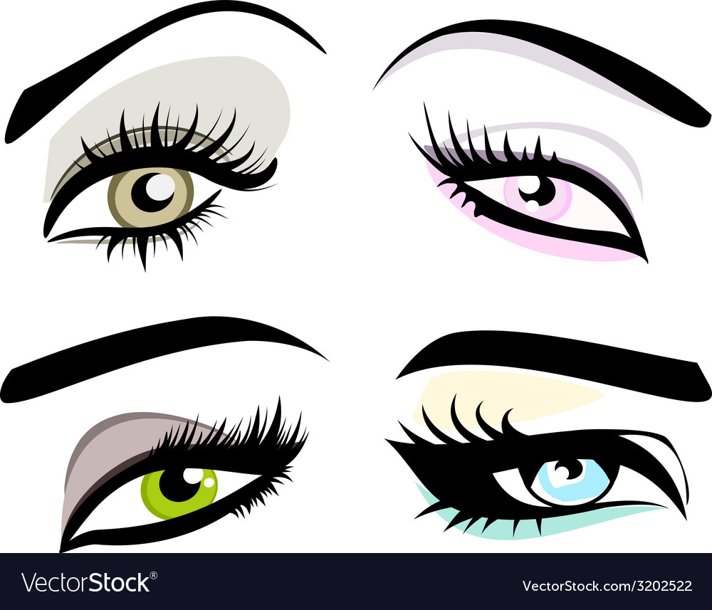 Beautiful girls eyes set vector | Price: 1 Credit (USD $1)