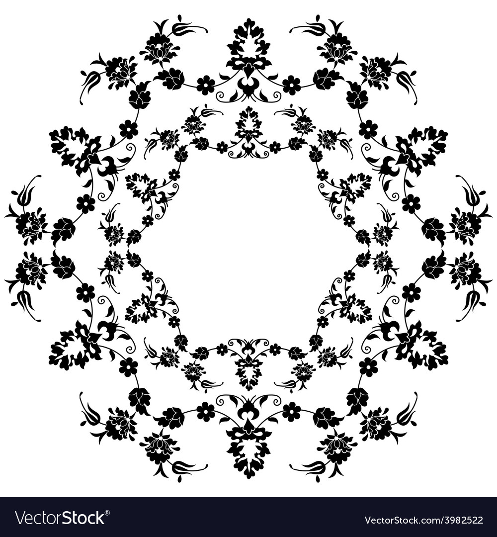 Black flowers in the ottoman art three vector   Price: 1 Credit (USD $1)