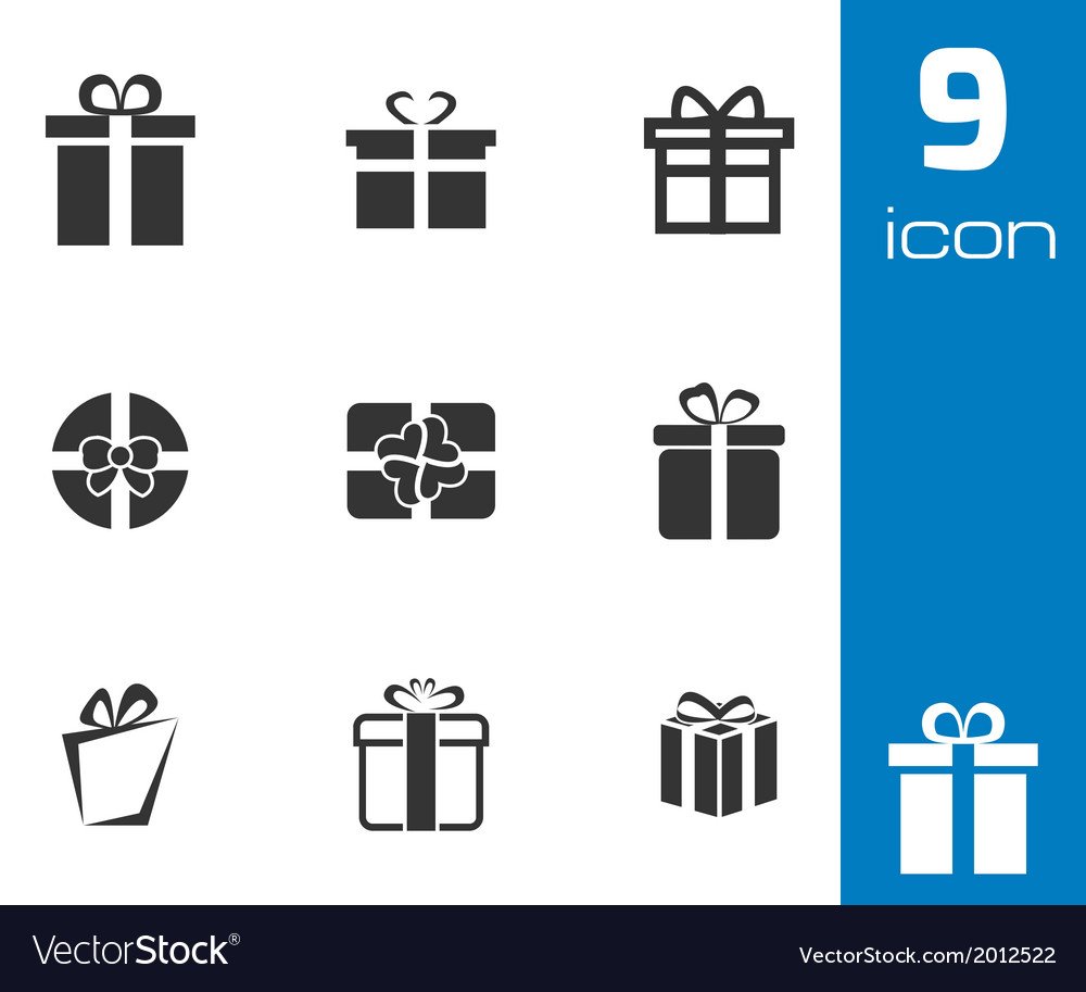 Black gift icons set vector | Price: 1 Credit (USD $1)