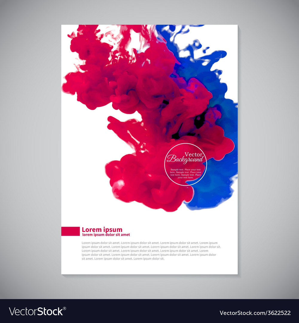 Business template with pink and blue ink in water vector   Price: 1 Credit (USD $1)
