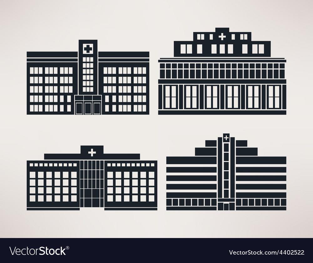 City hospital icon set flat style vector | Price: 1 Credit (USD $1)