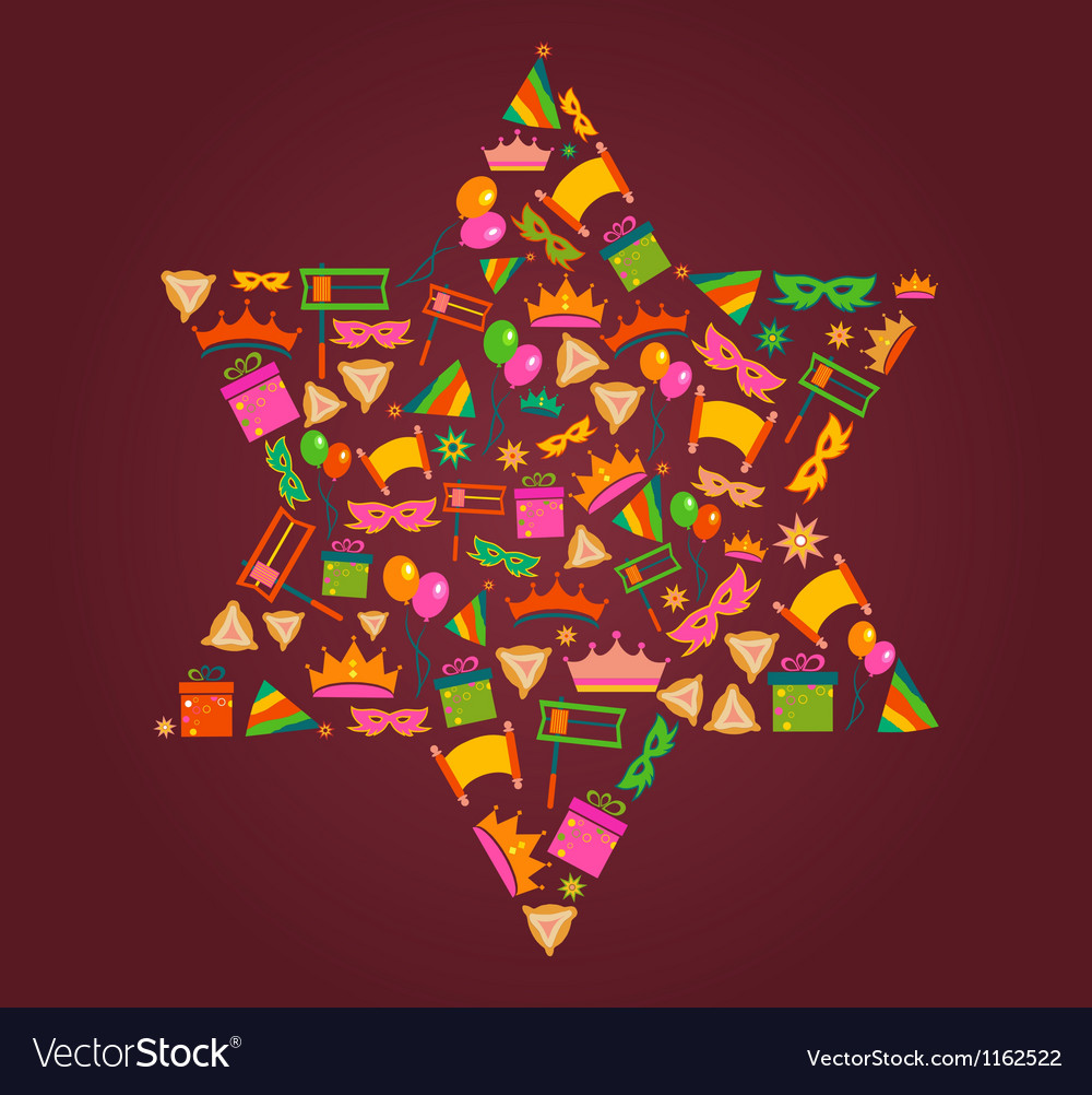 David star with objects of purim holiday vector | Price: 1 Credit (USD $1)