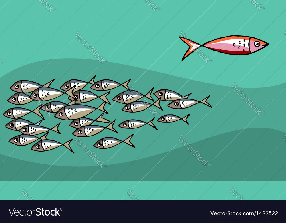 Fish swimming against tide vector | Price: 1 Credit (USD $1)
