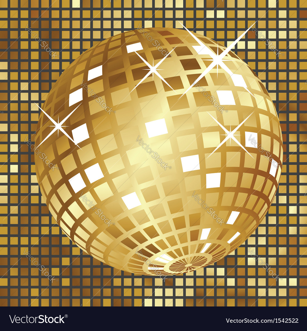Golden disco ball3 vector | Price: 1 Credit (USD $1)