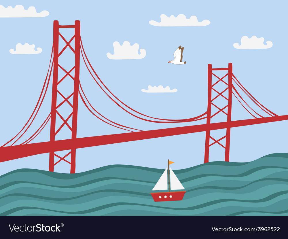 Lisbon 25 april bridge vector | Price: 1 Credit (USD $1)