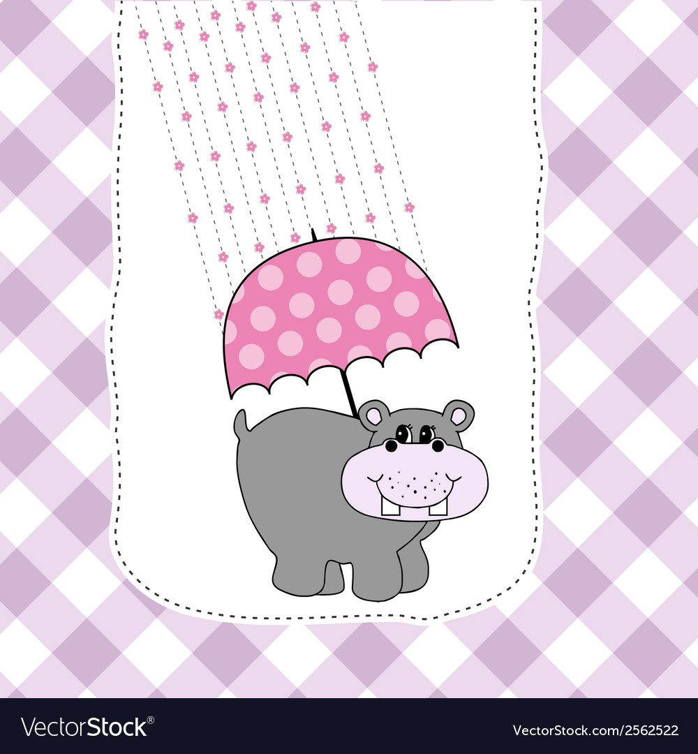 New baby invitation with hippopotamus vector | Price: 1 Credit (USD $1)