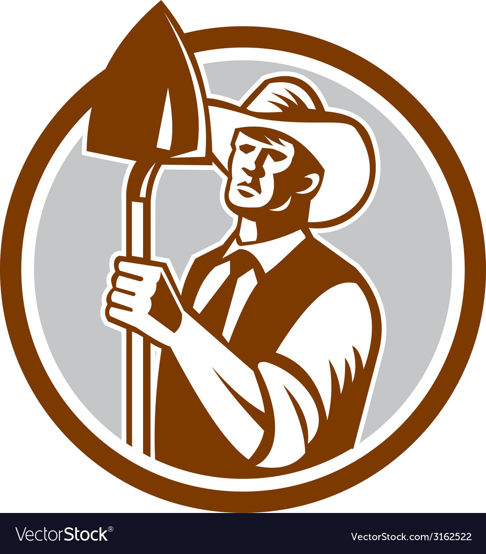 Organic farmer shovel circle woodcut vector | Price: 1 Credit (USD $1)