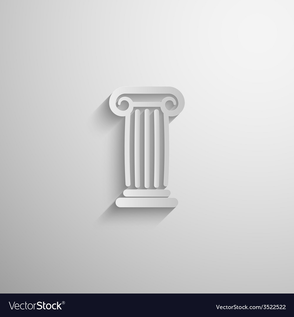 Paper 3d ancient column icon with long shadow vector | Price: 1 Credit (USD $1)