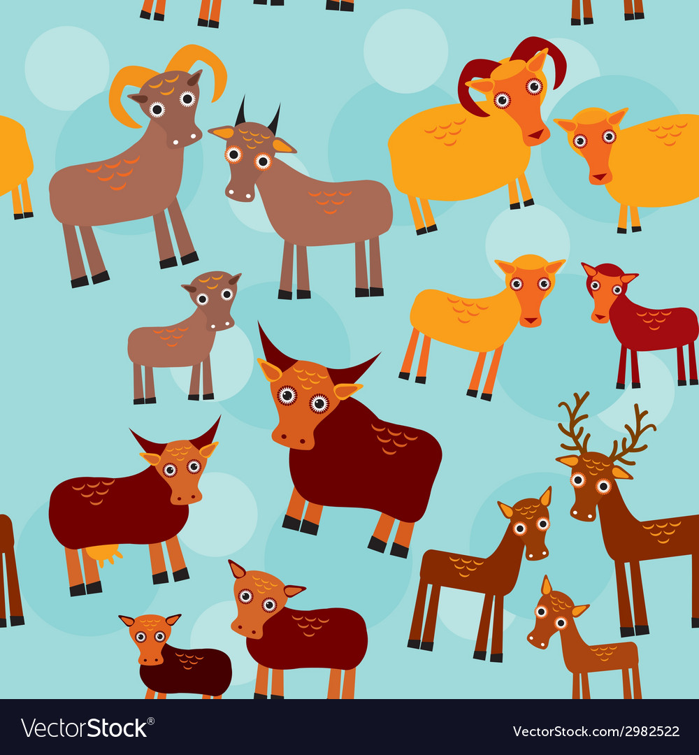 Set of funny animals with cubs goats sheep cows vector | Price: 1 Credit (USD $1)