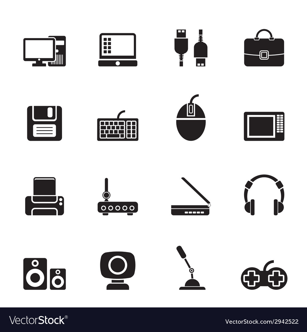 Silhouette computer equipment and periphery icons vector | Price: 1 Credit (USD $1)
