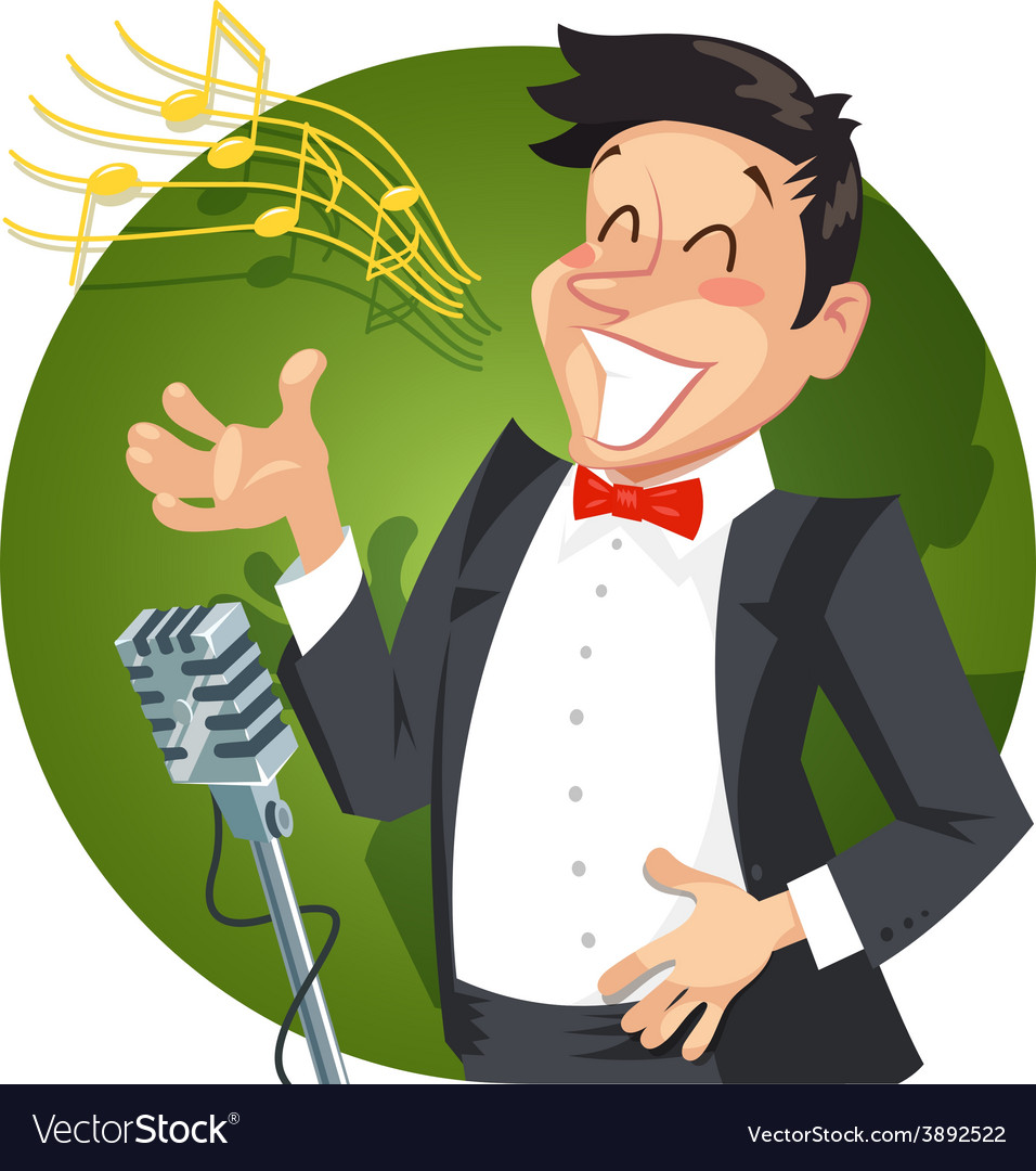 Singer sing with microphone vector | Price: 3 Credit (USD $3)