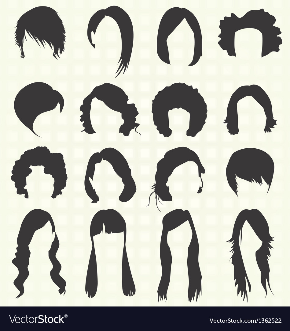 Womans hair styles silhouettes vector | Price: 1 Credit (USD $1)