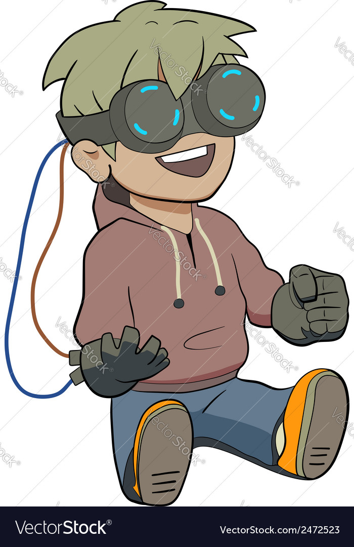 Chibi kid with virtual reality glasses vector | Price: 1 Credit (USD $1)
