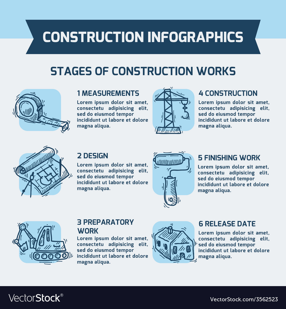 Construction infographics sketch vector | Price: 1 Credit (USD $1)