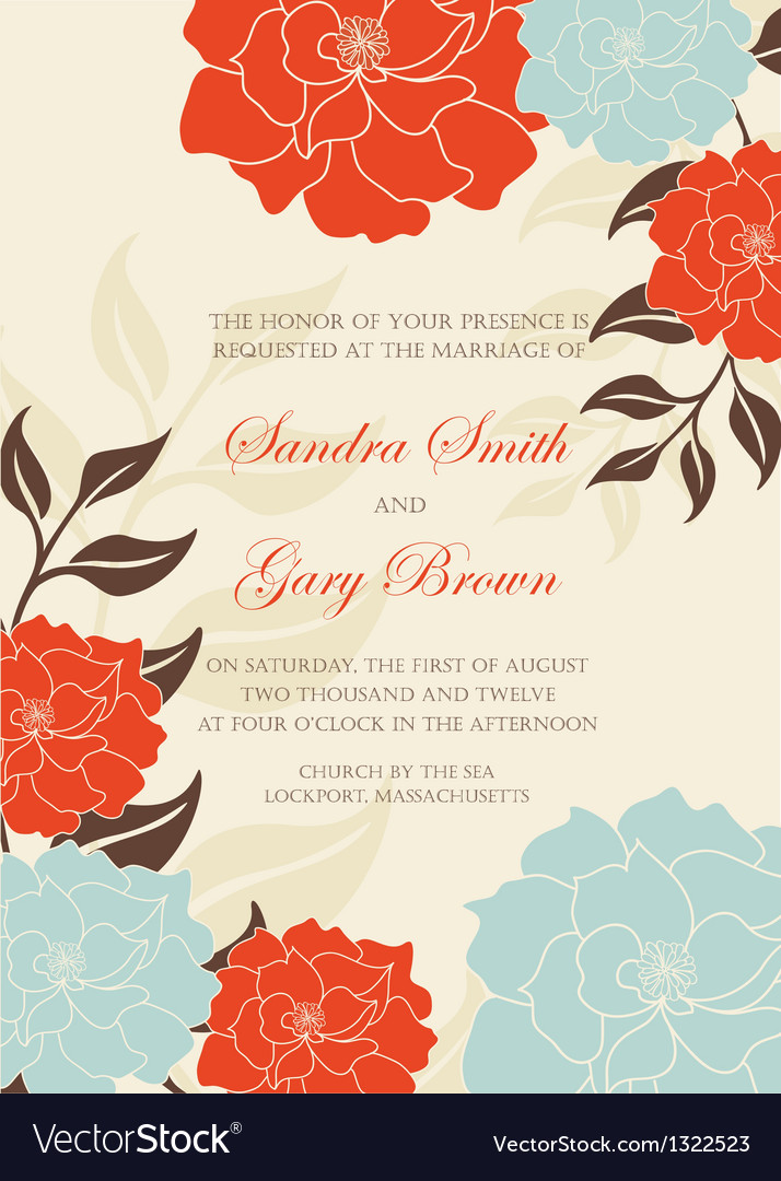 Floral wedding invitation card vector | Price: 1 Credit (USD $1)