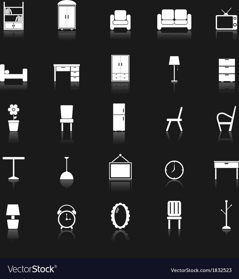 Furniture icons with reflect on black background vector | Price: 1 Credit (USD $1)