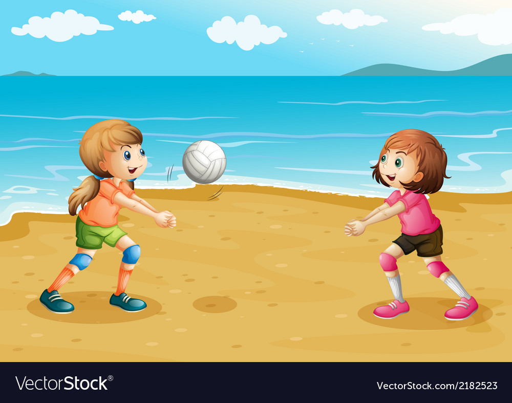 Girls playing volleyball at the beach vector | Price: 1 Credit (USD $1)