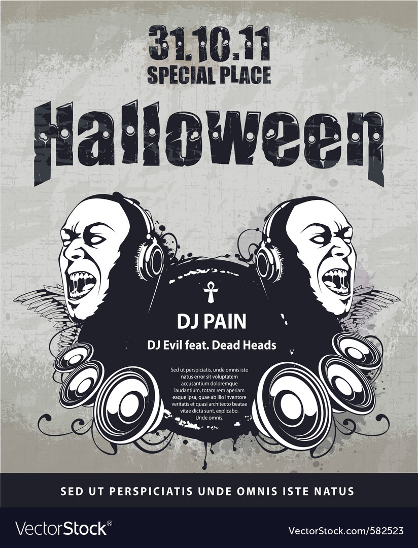Grungy poster for halloween party vector | Price: 3 Credit (USD $3)