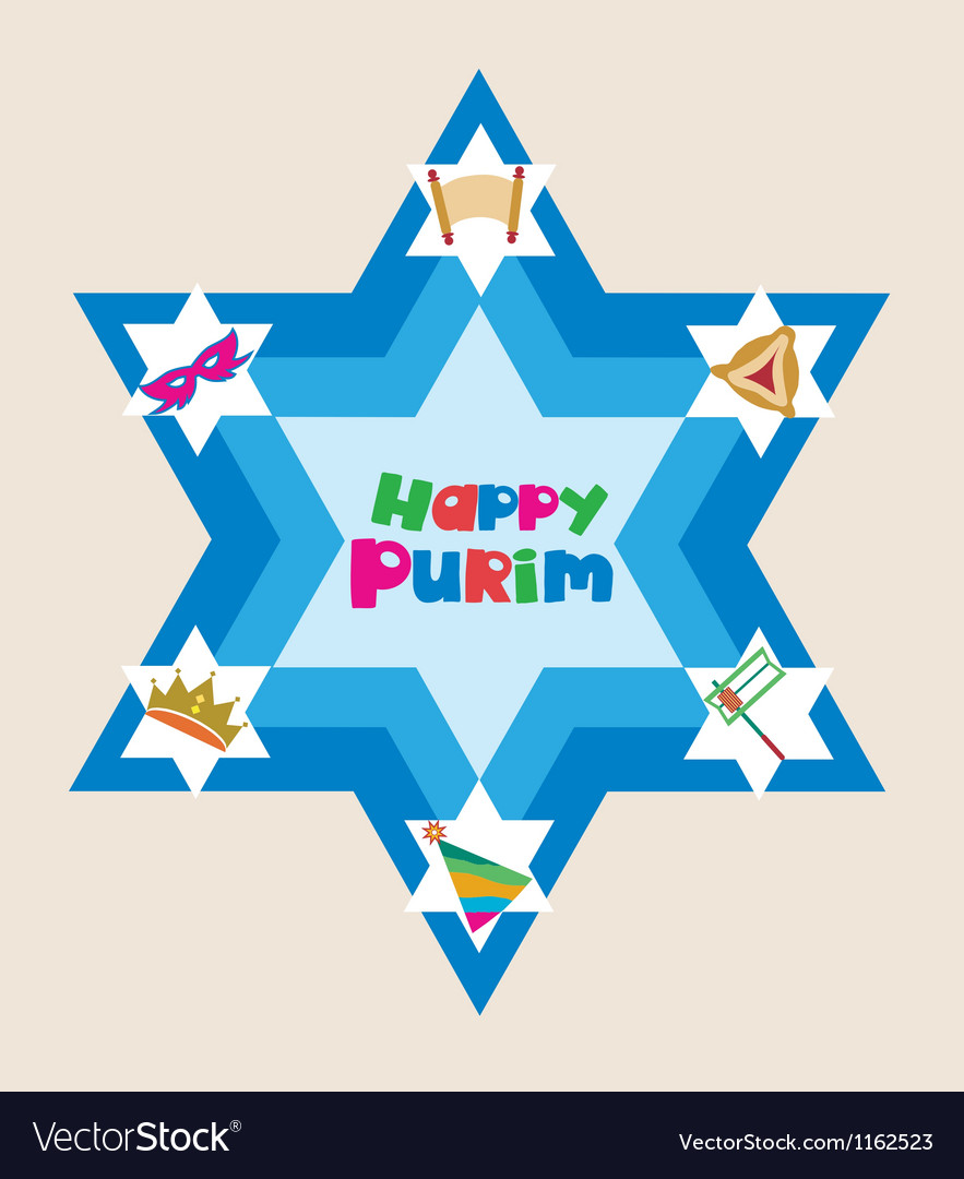 Happy purim david star with objects of jewish vector | Price: 1 Credit (USD $1)