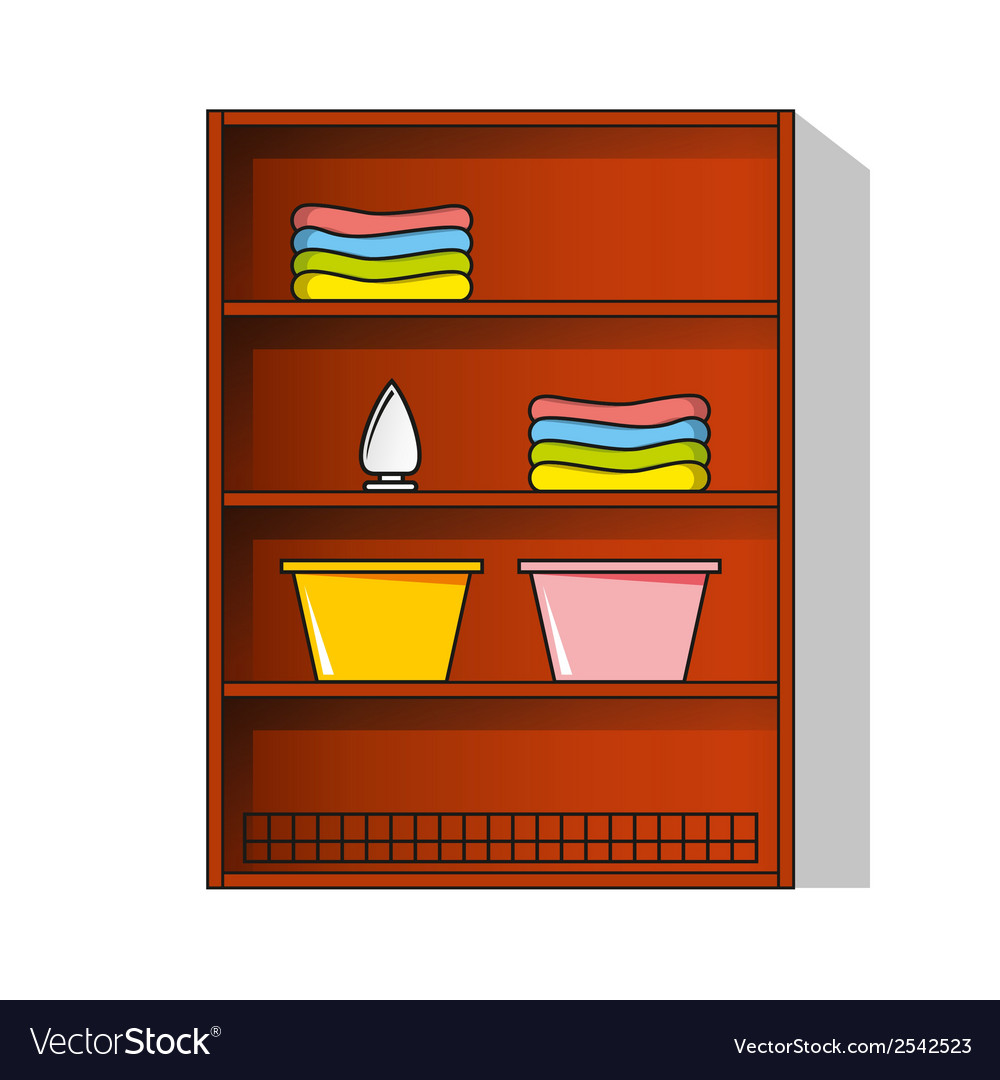 Linen cupboard wardrobe with clothes vector | Price: 1 Credit (USD $1)