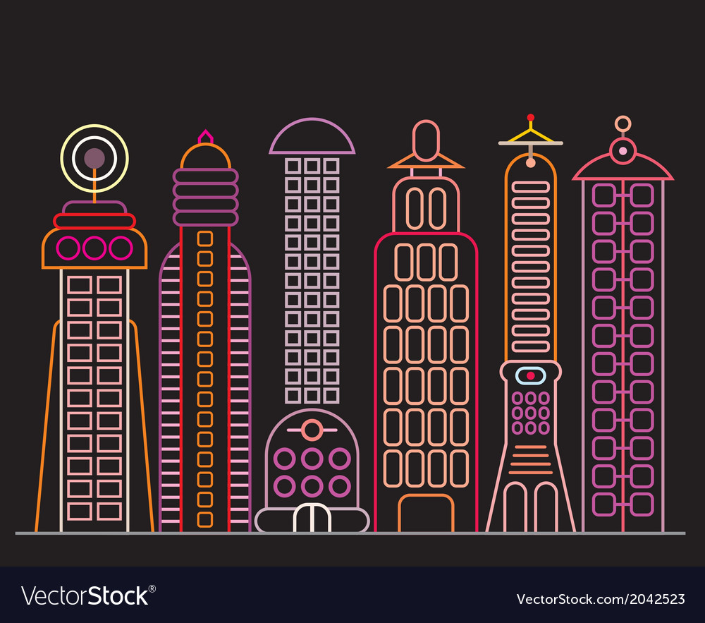 Neon city vector | Price: 1 Credit (USD $1)