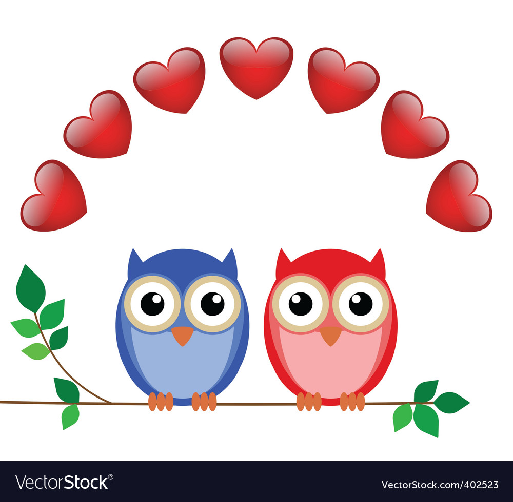 Owl valentine vector | Price: 1 Credit (USD $1)