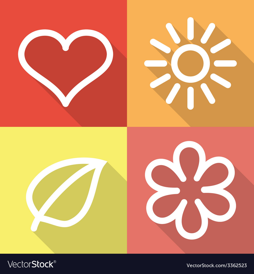 Set of contoured flat icons vector | Price: 1 Credit (USD $1)