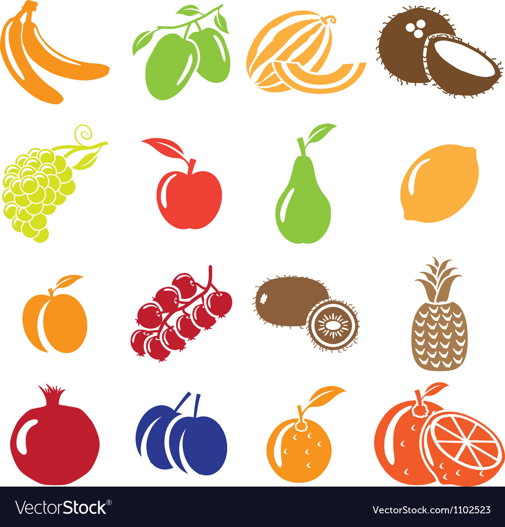 Set of fruits and vegetables icons vector | Price: 1 Credit (USD $1)