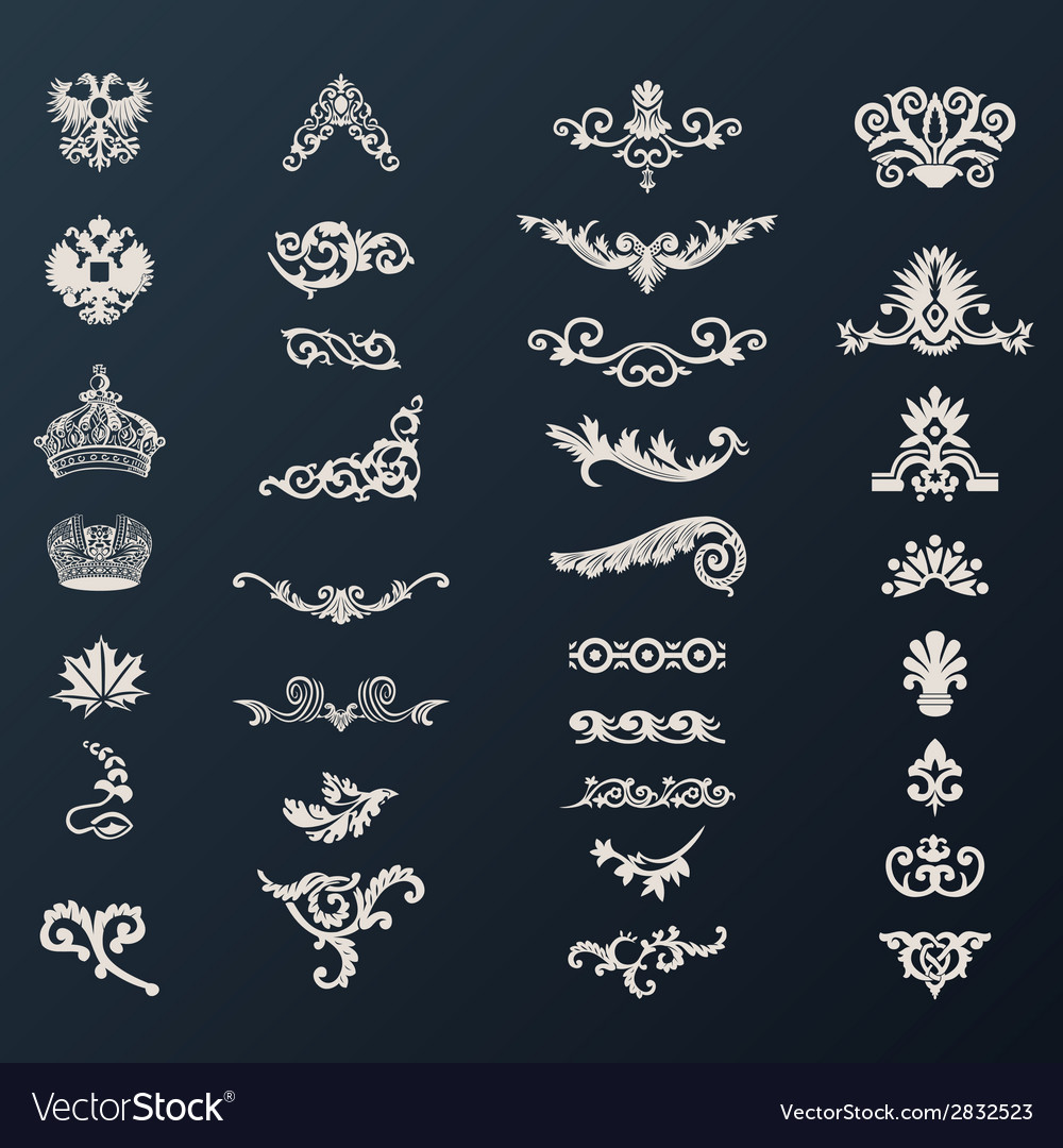 Vintage royal design elements black vector | Price: 1 Credit (USD $1)