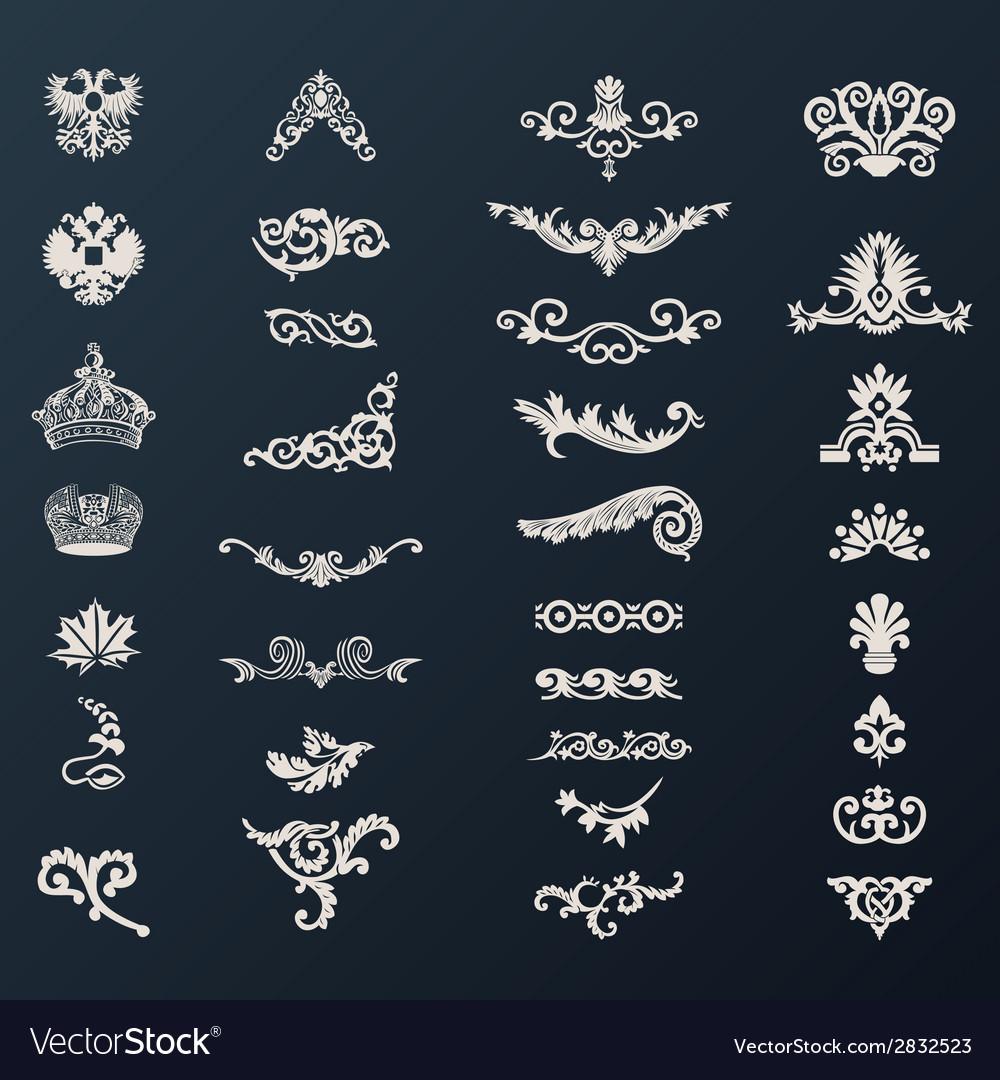 Vintage royal design elements black vector | Price: 1 Credit (USD $1)