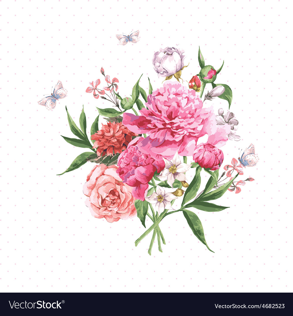 Vintage watercolor greeting card with blooming vector | Price: 1 Credit (USD $1)