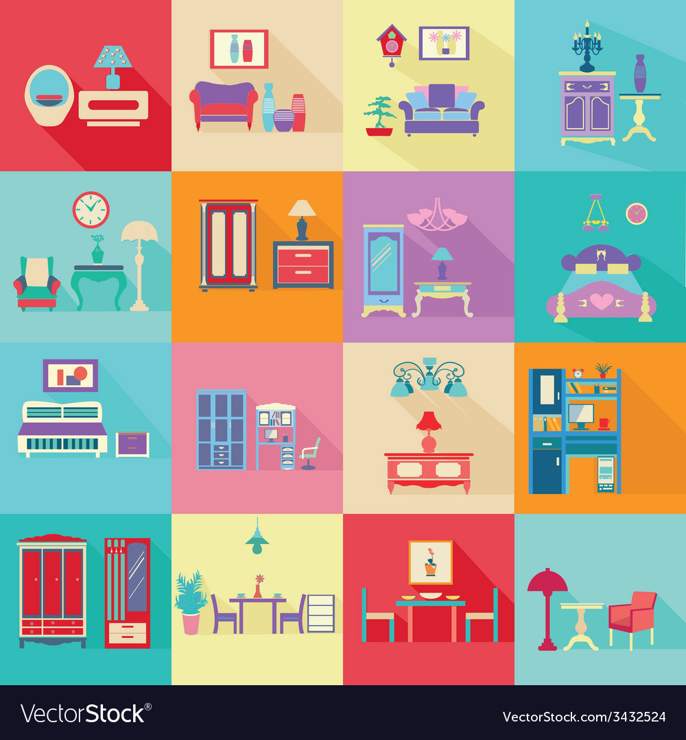 Colorful interior icons set in flat style vector | Price: 1 Credit (USD $1)