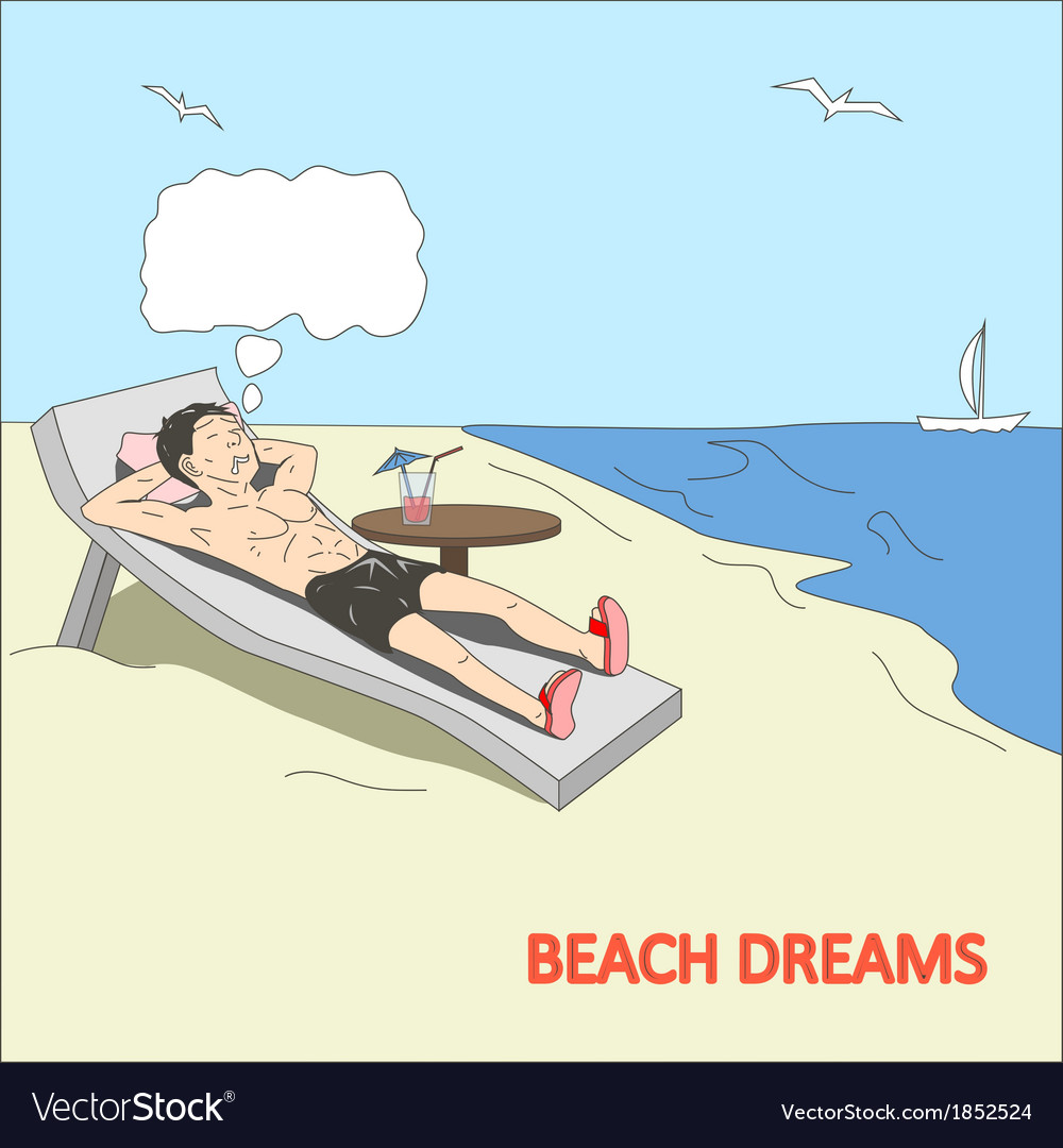 Doodle man dreams at the beach vector | Price: 1 Credit (USD $1)