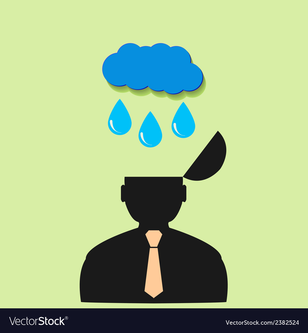 Icon man and rain clouds vector | Price: 1 Credit (USD $1)