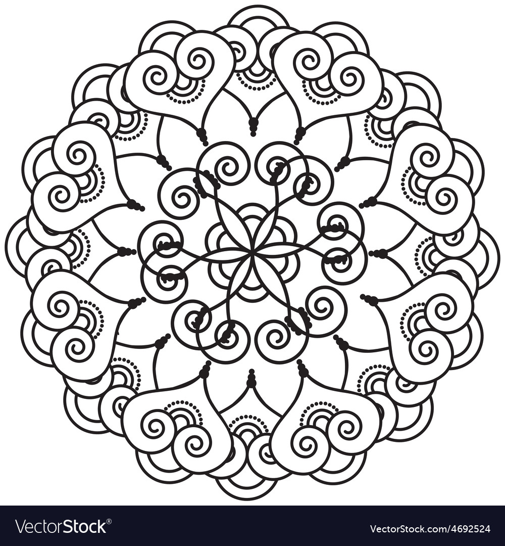 Indian henna tattoo inspired heart shapes wreath 4 vector | Price: 1 Credit (USD $1)