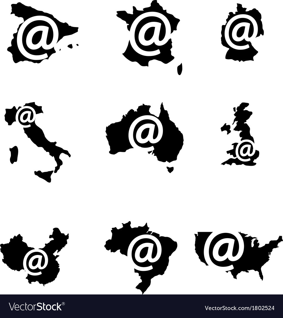 Internet sign countries vector | Price: 1 Credit (USD $1)