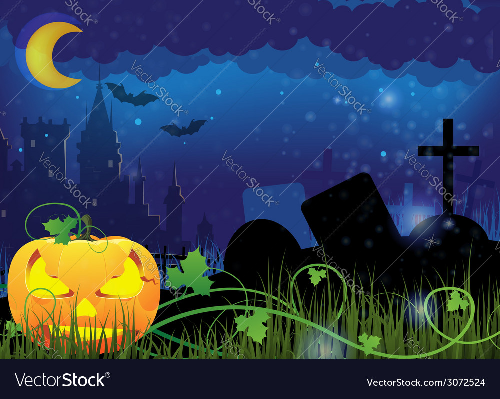 Jack o lantern and ancient castle vector | Price: 3 Credit (USD $3)