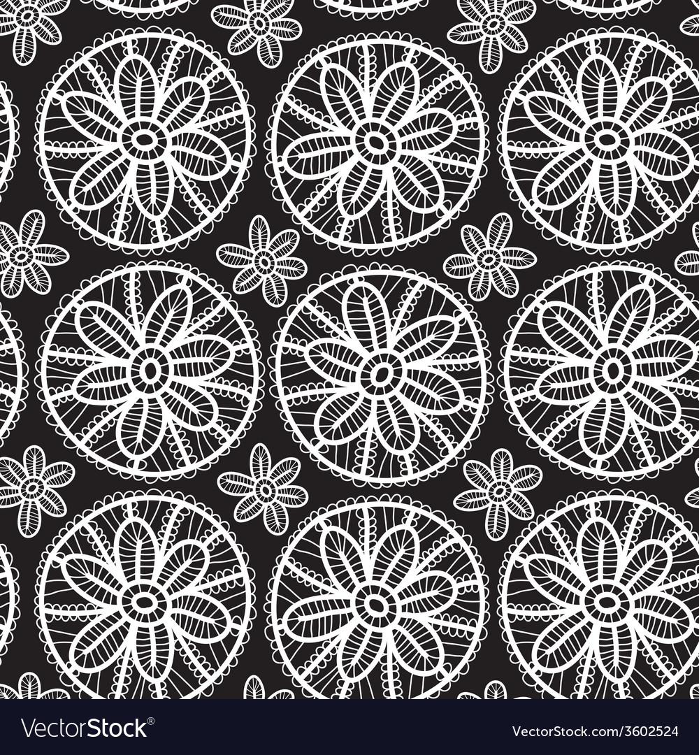 Lace seamless pattern with flowers and leaves vector | Price: 1 Credit (USD $1)