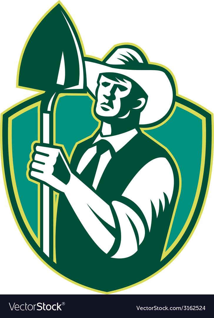 Organic farmer shovel shield woodcut vector | Price: 1 Credit (USD $1)