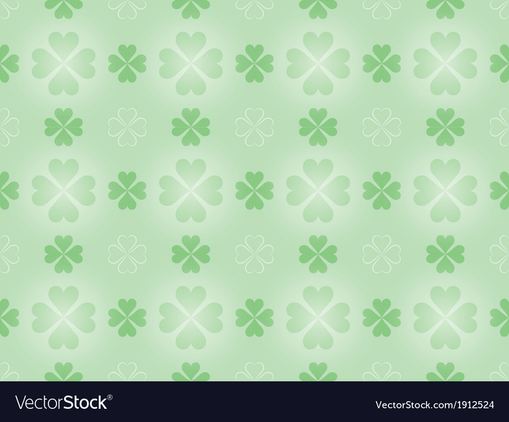 Pattern with four leaf shamrock vector