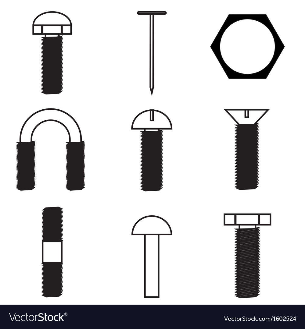 Set of screws icon vector | Price: 1 Credit (USD $1)