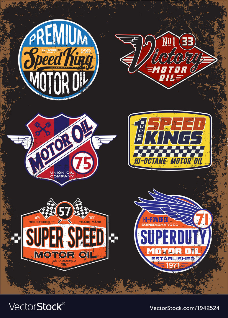 Vintage motor oil signs and label set vector | Price: 1 Credit (USD $1)